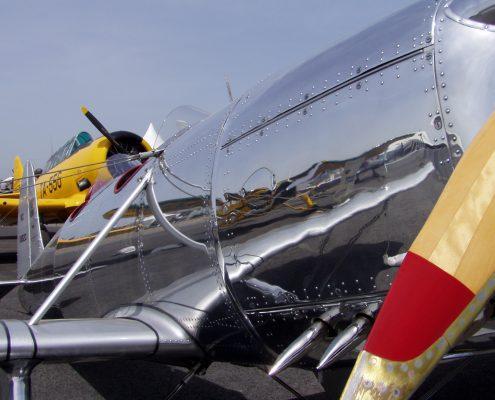 Side view of polished metal plane