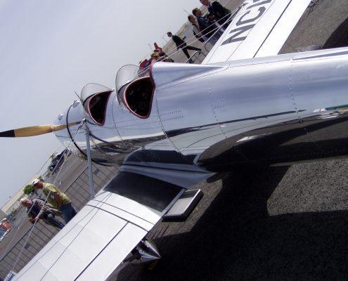 Metal studded aircraft polished
