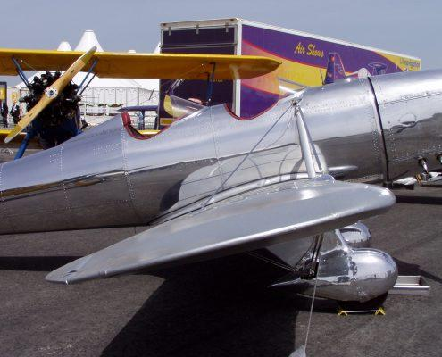 Old fashioned two seater plane polished