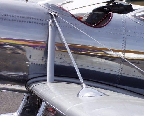Two seater plane polished metal