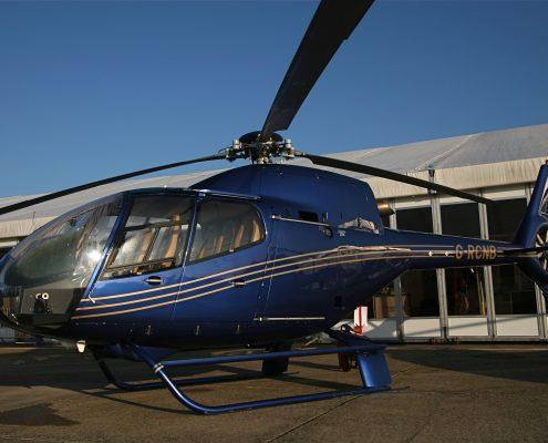 Blue helicopter cleaned and polished