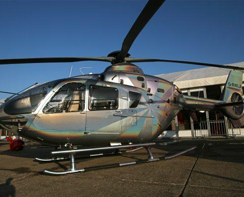 Silver helicopter cleaned and polished