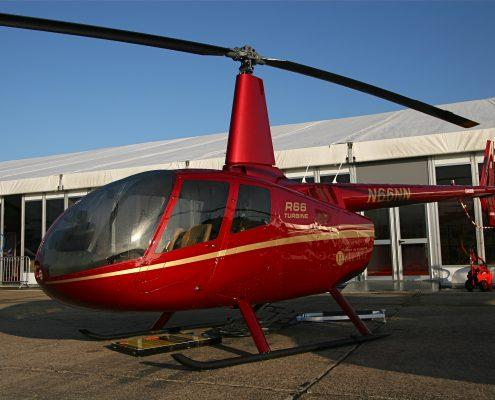 Red helicopter cleaned and polished