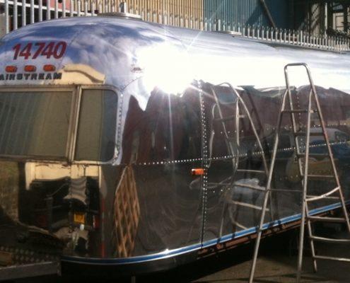 Airstream polished caravan side view