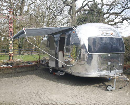 Airstream caravan cleaned and polished