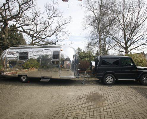 Highly polished metal caravan