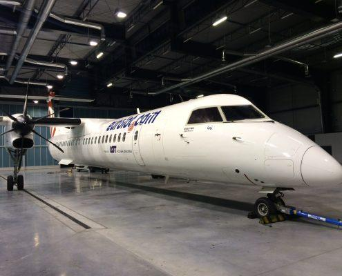Aircraft in hangar for cleaning