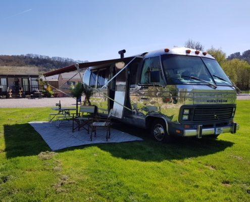 Polished metal mobile home 2