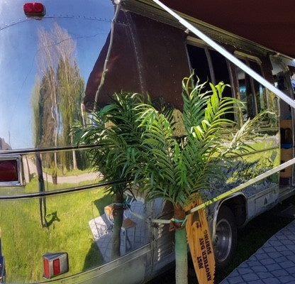 polished metal mobile home