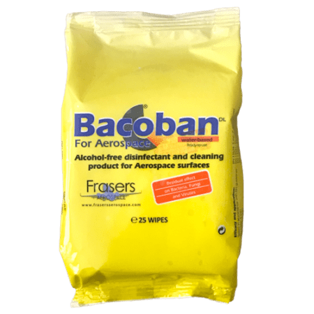 Bacoban wipes for aerospace surfaces